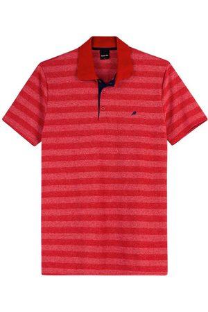 ENFIM Camisa Vermelha Polo Listrada em Malha
