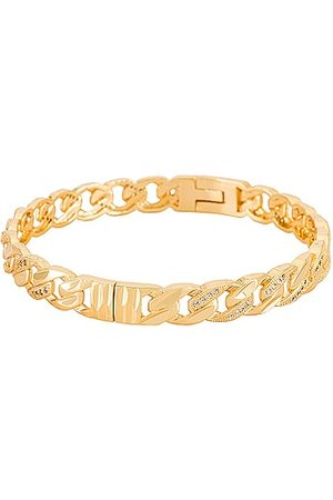 Natalie B Jewelry Lien Chain Bangle in Metallic .