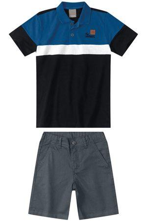 CARINHOSO Conjunto Camisa Polo em Malha Menino