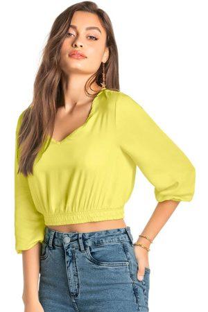 ENFIM Mulher Blusa - Blusa Amarela Cropped Acetinada