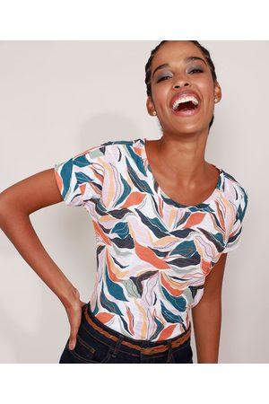 YESSICA Mulher Camiseta - Camiseta Estampada Folhagem Manga Curta Decote Redondo Bege