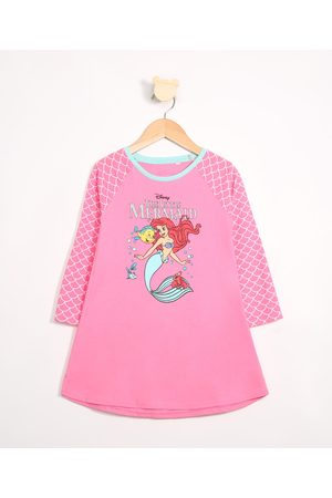 Disney Menina Pijamas - Camisola Infantil Raglan Ariel Manga Longa Decote Redondo