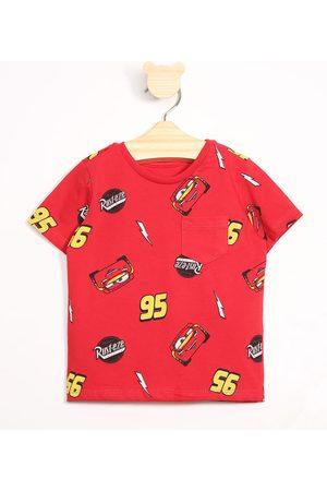Disney Menino Camisolas de Manga Curta - Camiseta Infantil Carros com Bolso Manga Curta Gola Careca Vermelha