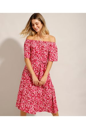 Clockhouse Vestido Midi Ombro a Ombro em Viscose Floral Vermelho