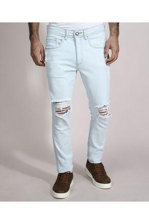 AL Contemporâneo Homem Calça Skinny - Calça Skinny Jeans Destroyed com Bolsos Claro