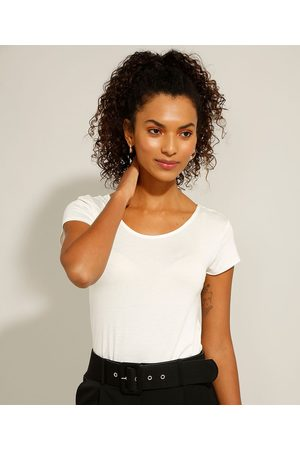 City Mulher Camiseta - Camiseta Básica Manga Curta Decote Redondo Off White