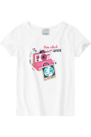 MALWEE KIDS Menina Blusas de Manga Curta - Blusa Branca um Click com Amor em Cotton Menina