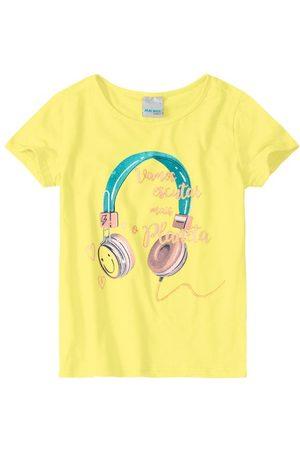MALWEE KIDS Menina Blusas de Manga Curta - Blusa Amarela Escutar Mais o Planeta em Cotton N