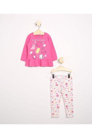 BABY CLUB Conjunto Infantil de Blusa Manga Longa Rosa + Calça Legging Estampada Floral Off White