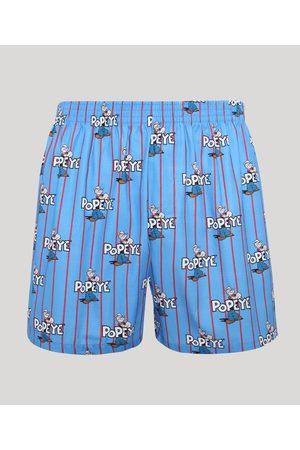 Popeye & Friends Samba Canção Listrada Estampada Popeye Azul