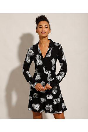 YESSICA Vestido Chemise de Viscose de Abacaxis Curto Manga Longa Preto