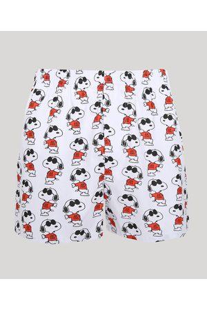 Snoopy Samba Canção Masculina Estampada de Snoppy Branca