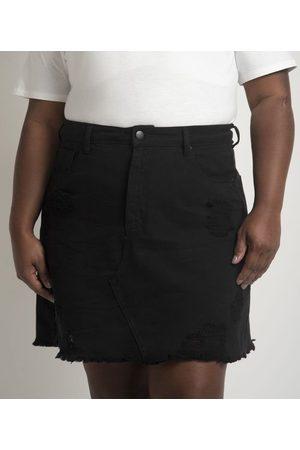 Ashua Curve e Plus Size Mulher Minissaia - Saia Curta em Sarja com Puídos Curve & Plus Size       56