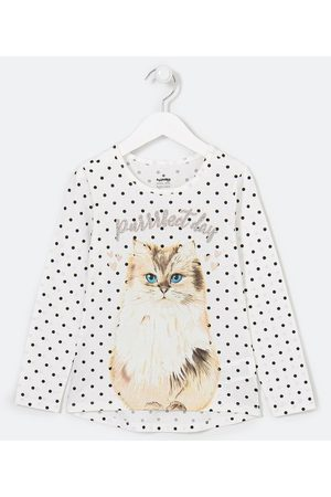 Fuzarka Criança Vestido Estampado - Blusa Infantil Poá com Estampa de Gato Fofo - Tam 5 a 14 anos | | | 11-12