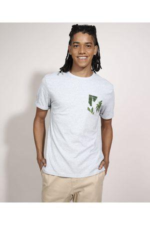 Suncoast Homem Camisolas de Manga Curta - Camiseta com Bolso Estampado de Folhagem Manga Curta Gola Careca Branca