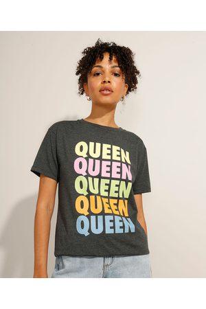 Queen Camiseta da Banda Manga Curta Decote Redondo Mescla Escuro