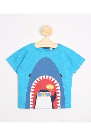BABY CLUB Camiseta Infantil Tubarão e Pinguim Manga Curta Gola Careca Claro