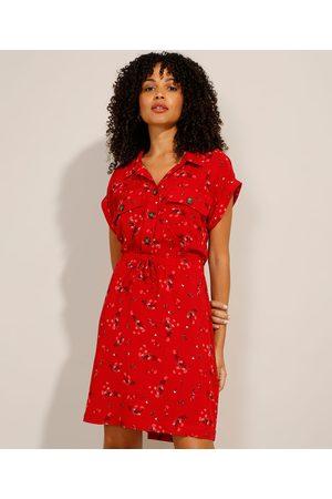 Clockhouse Vestido de Viscose Floral Curto Manga Curta Vermelho