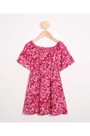 Palomino Vestido Infantil de Viscose Tal Mãe Tal Filha Estampada Floral Manga Curta Decote Redondo Rosa