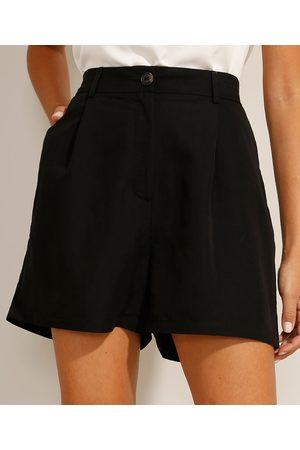 Basics Mulher Short - Short Reto com Pregas Cintura Super Alta