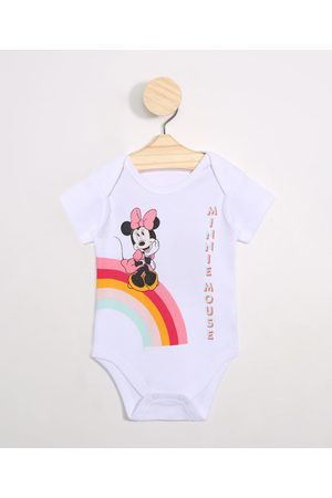 Disney Menina Sets - Body Infantil Minnie Arco Íris Manga Curta Decote Redondo Off White
