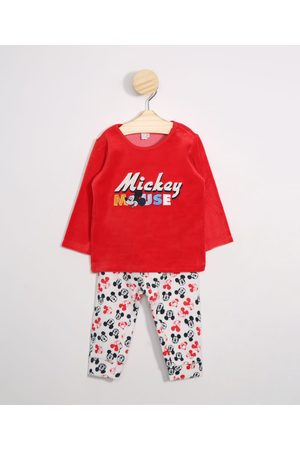 Disney Menino Sets - Conjunto Infantil Blusão de Plush Mickey Vermelho + Calça Estampada Vermelho