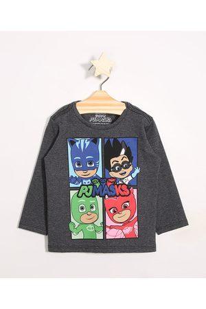 Hasbro Menino Camisolas de Manga Larga - Camiseta Infantil Pj Masks Manga Longa Mescla Escuro