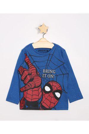 Marvel Homem Camisolas de Manga Larga - Camiseta Infantil Homem Aranha Manga Longa Gola Careca
