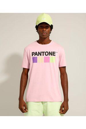 Pantone Homem Camisolas de Manga Curta - Camiseta de Algodão Cartela de Cores Manga Curta Gola Careca
