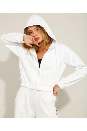 Pantone Jaqueta Cropped de Moletom com Capuz Off White