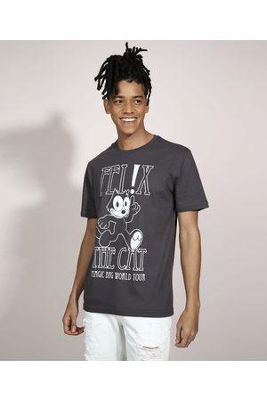Universal Homem Camisolas de Manga Curta - Camiseta Gato Felix Manga Curta Gola Careca Chumbo