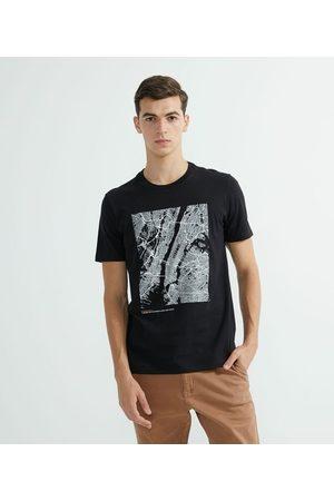 Request Camiseta Manga Curta Algodão Estampa Mapa NY | | | P