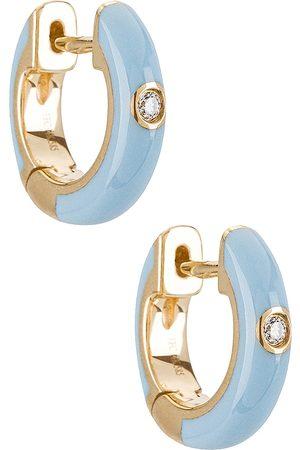 EF Collection Brincos - Single Diamond Enamel Huggie Earring in .