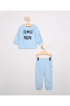"""Baby Club Conjunto Infantil de Fleece Blusão I Love Mom"""" + Calça Jogger Claro"""""""