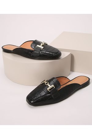 VIZZANO Mulher Sapato Mule - Mule Feminino Croco com Fivela