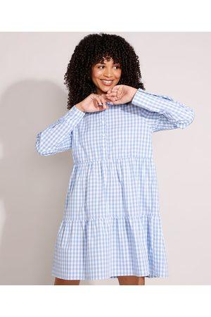 Clock House Mulher Vestido Longo - Vestido de Algodão Xadrez Vichy com Recortes Curto Manga Longa Azul