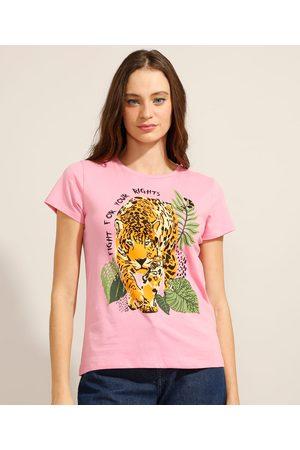 YESSICA Camiseta de Algodão Onça Manga Curta Decote Redondo