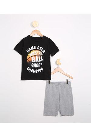 PALOMINO Menino Sets - Conjunto Infantil Camiseta Manga Curta Preto + Bermuda Mescla