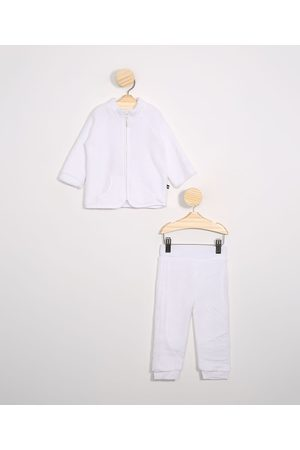 BABY CLUB Menina Sets - Conjunto Infantil de Fleece Blusão Gola Alta + Calça Jogger Off White