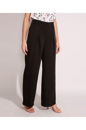 City Mulher Calça Flare - Calça Wide Pantalona Alfaiataria Cintura Alta com Bolsos Preta