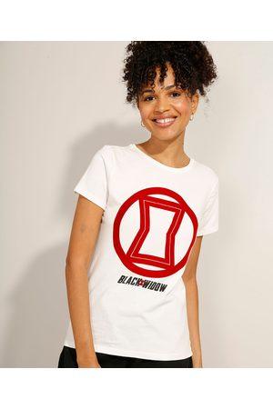 Marvel Mulher Camiseta - Camiseta de Algodão Viúva Negra Flocada Manga Curta Decote Redondo Off White