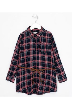 Fuzarka Criança Cinto - Camisa Infantil Estampa Xadrez com Cinto - Tam 5 a 14 anos | | | 9-10