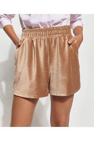 Mindse7 Mulher Short - Short de Plush Veludo Cotelê Canelado com Bolsos Cintura Alta Mindset Caramelo