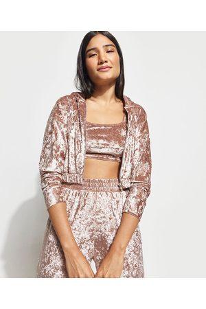 Mindse7 Mulher Jaquetas - Blusão Cropped de Plush Veludo com Zíper e Capuz Mindset Rosê