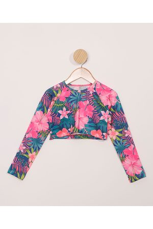 Palomino Blusa de Praia Infantil Cropped Estampada Floral com Proteção UV50+ Multicor