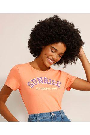 """YESSICA Camiseta de Algodão Sunrise"""" Manga Curta Decote Redondo Coral"""""""