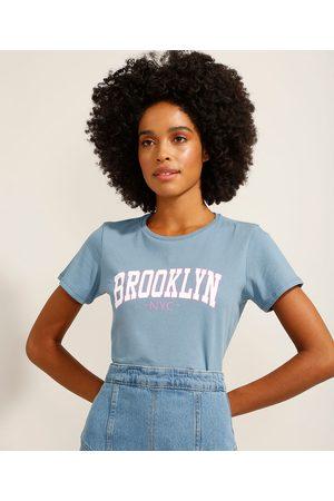 """YESSICA Mulher Camiseta - Camiseta de Algodão Brooklyn"""" Manga Curta Decote Redondo """""""