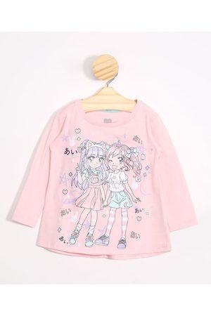 BABY CLUB Menina Manga Longa - Blusa Infantil Japonesas com Brilho Manga Longa Decote Redondo Claro