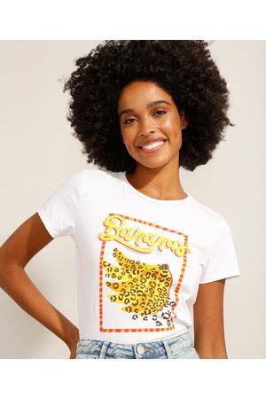 """YESSICA Camiseta de Algodão Bananas"""" Manga Curta Decote Redondo Off White"""""""