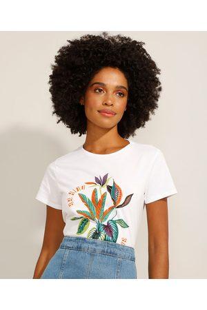 """Yessica Camiseta de Algodão Be Kind To All Kinds"""" Manga Curta Decote Redondo Off White"""""""